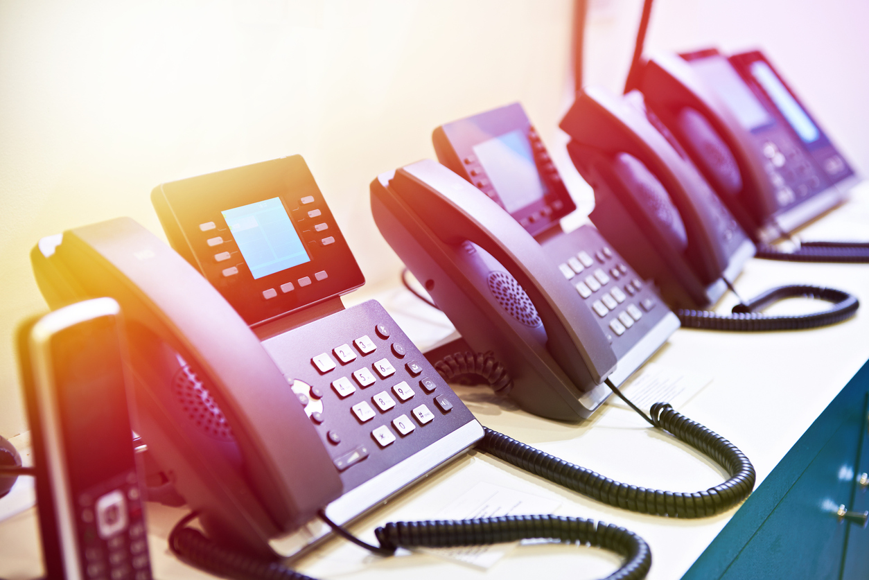 IP phones for office call center use.